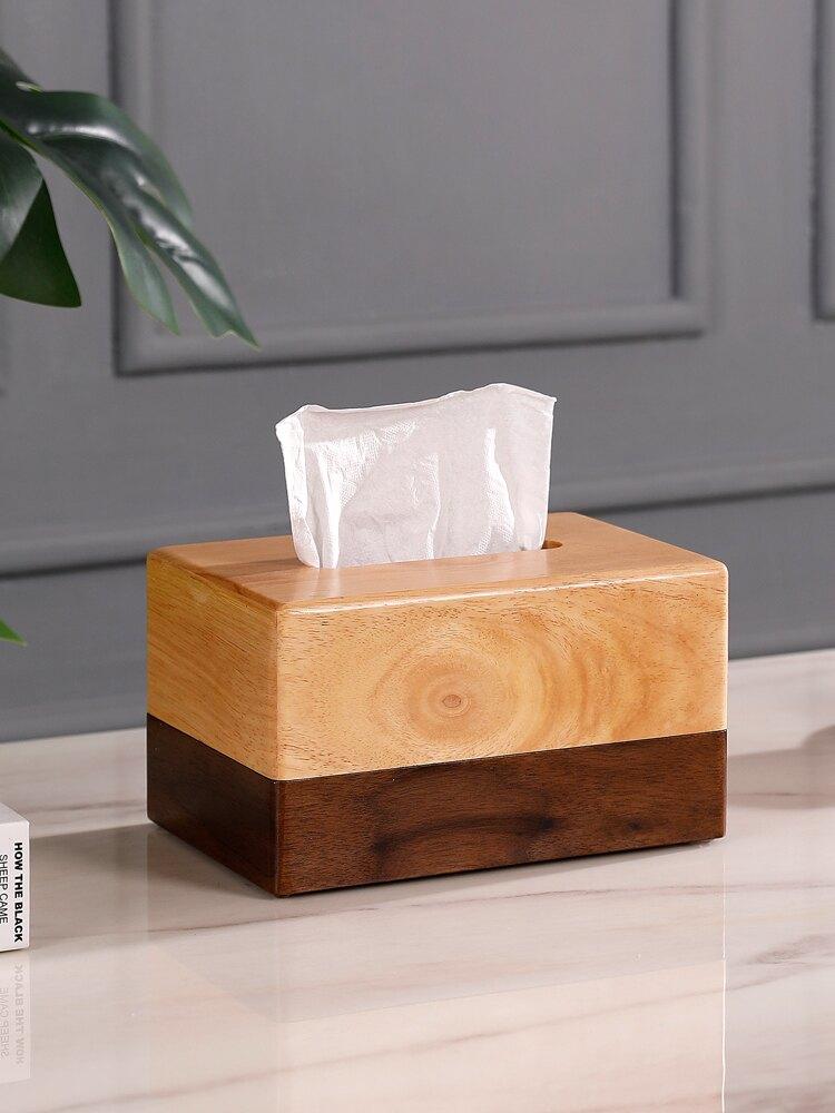 抽紙盒新中式美式實木北歐ins收納盒家居客廳裝飾方形原木紙巾盒 XS3 艾琴海小屋