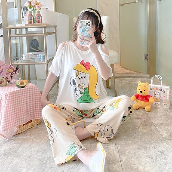 睡衣女短袖長褲一整套裝露肩牛奶絲可外穿夏季韓版卡通印花1F057胖妹大碼女裝