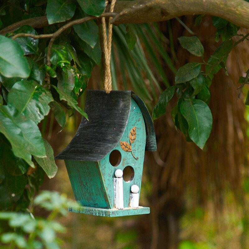 花園裝飾 鐵皮實木鳥窩鳥籠戶外庭院鳥屋樹掛木質麻雀木房子