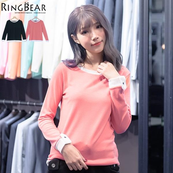 加大尺碼--親柔自在輕鬆率性圓領配色反摺羅紋袖造型休閒長袖T恤(黑.粉XL-5L)-X224眼圈熊中大尺碼
