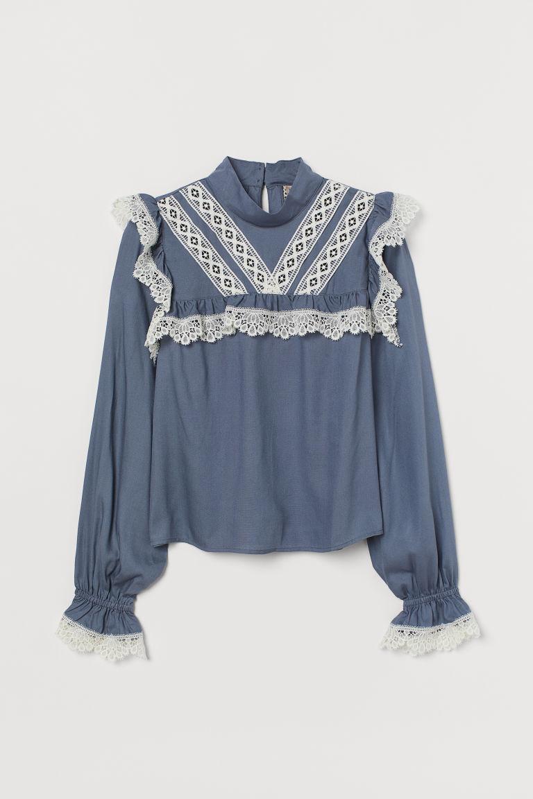 H & M - 蕾絲飾邊女衫 - 藍色