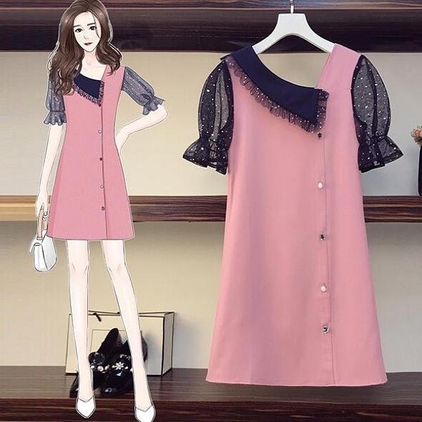 洋裝短袖裙子中大尺碼XL-5XL大碼減齡遮肚顯瘦網沙拼接連身裙4F093-3153.胖丫