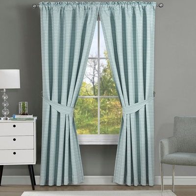 伊美居 克里斯格紋編織緹花遮光雙層半腰窗簾 130x165cm -2件