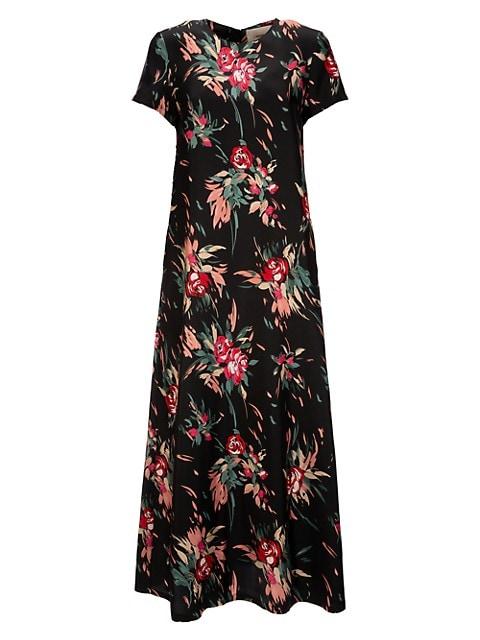 Floral Swing Twill Silk Dress