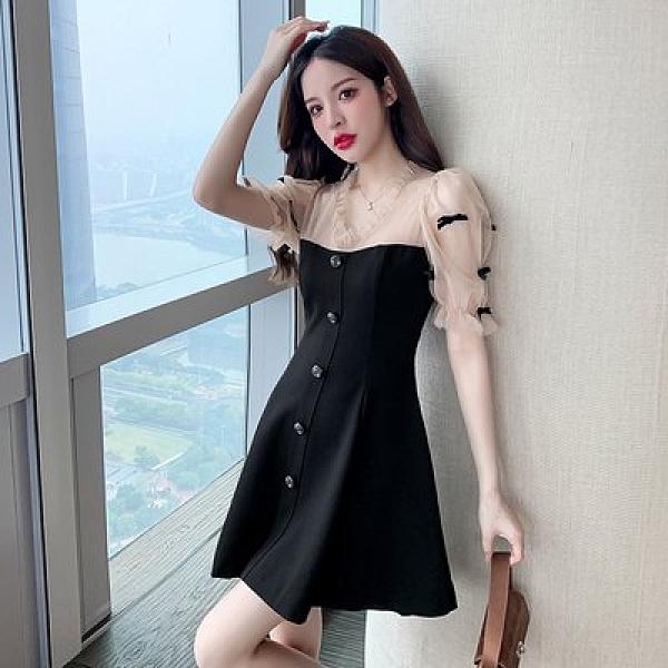 裙子連身裙洋裝S-XL實拍女神短款收腰氣質V領小荷葉邊泡泡袖雙層網紗連衣裙N153C.6130皇潮天下