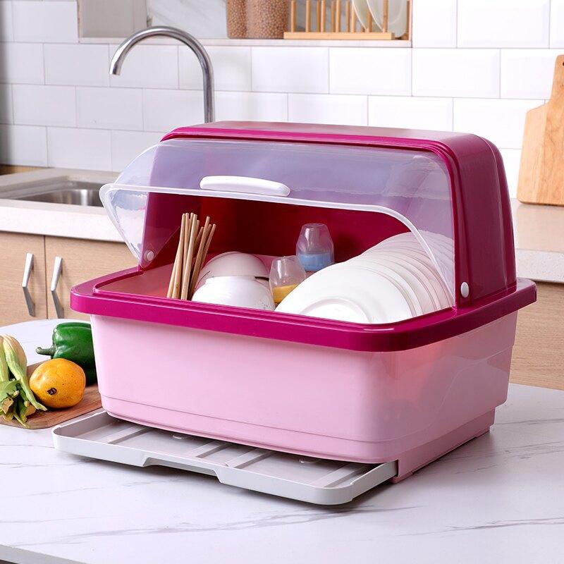 碗筷瀝水收納盒 大號廚房碗柜裝碗筷收納盒放碗盤收納箱瀝水碗架家用帶蓋碗盆碗碟【TZ458】