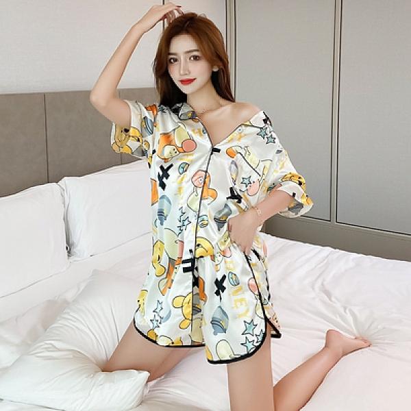夏季仿真絲短袖開衫睡裙女家居服裙韓版甜美短裙1F057胖妞衣櫥