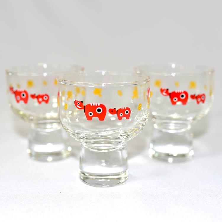 日本牛吉祥物 招福個人酒杯 三個一組 日本製 東洋佐佐木製 125ml
