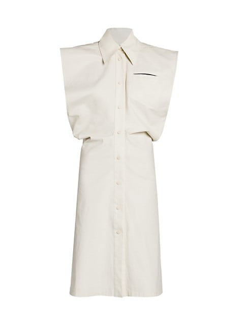 Sleeveless Button Down Toile Shirtdress