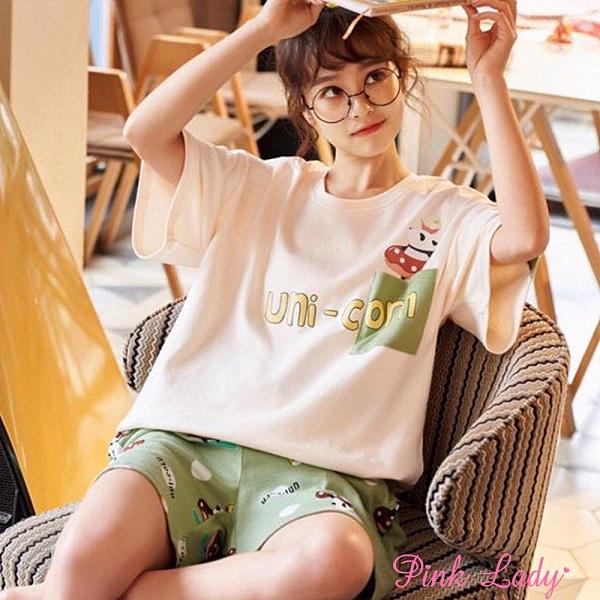 居家棉柔短袖成套睡衣 甜甜圈熊貓2063(米黃)-Pink Lady