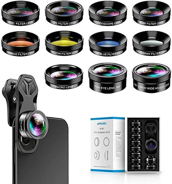 Apexel【日本代購】通用專業高清智能(ND32濾鏡超廣角鏡頭超級微距鏡頭11合1鏡頭套件)