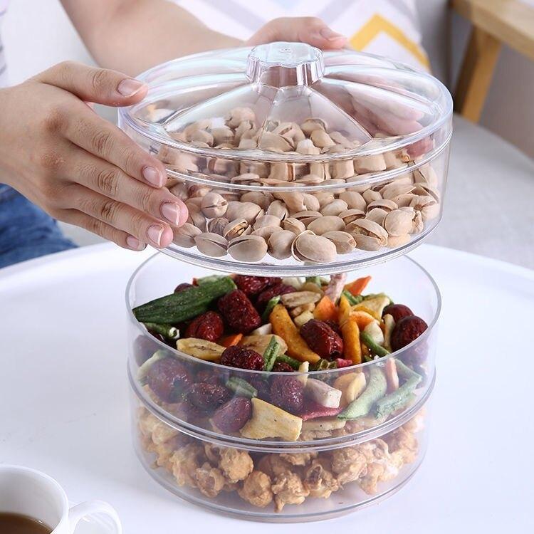 透明可疊加果盤家用堅果糖果盒創意時尚帶蓋幹果盒客廳零食幹果盤 摩可美家