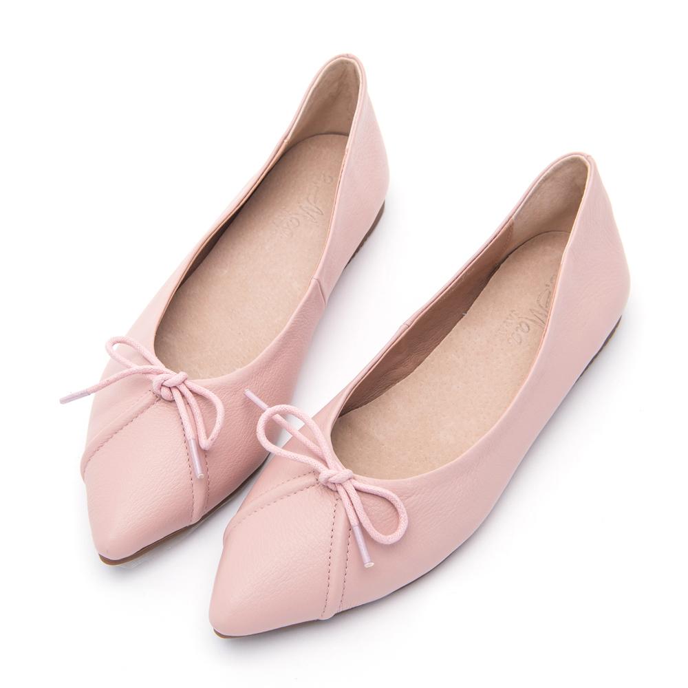 【零碼撈便宜】2.Maa 甜美氣質蝴蝶結尖頭平底包鞋-粉