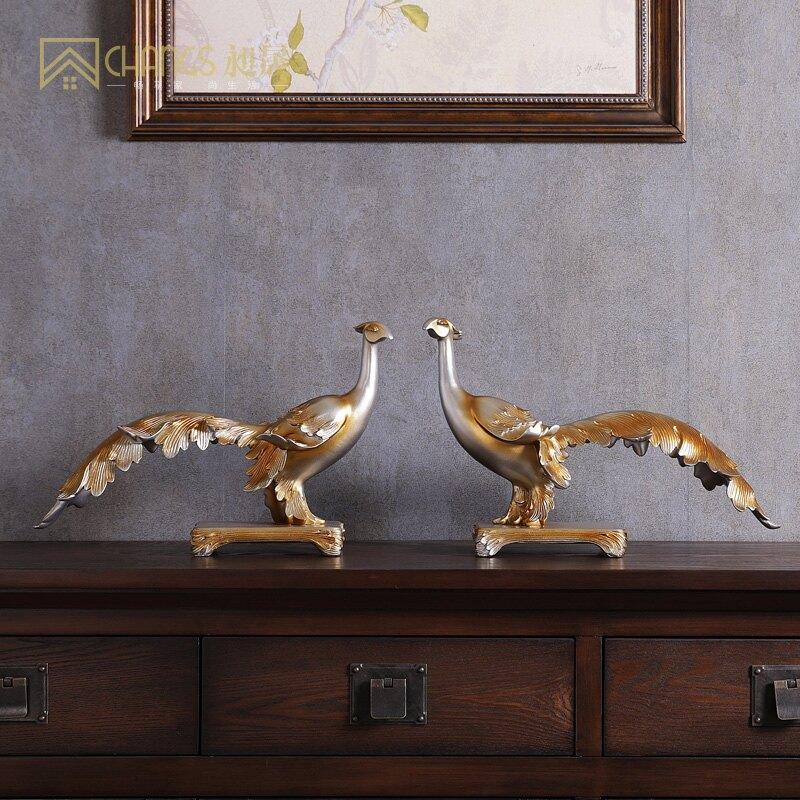 鳳凰套裝組合擺件歐式家居鞋柜餐邊柜電視柜臺面兩邊孔雀左右一對  XS3 艾琴海小屋
