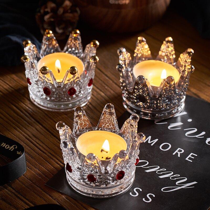 ins創意浪漫燭光晚餐道具蠟燭臺餐廳家用水晶玻璃皇冠煙灰缸擺件    SGBS3 愛尚優品
