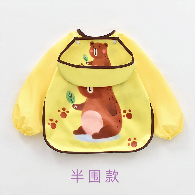 圍兜 寶寶吃飯罩衣兒童圍裙圍兜防水防臟春夏季女寶男童反穿衣兒童護衣『XY20040』