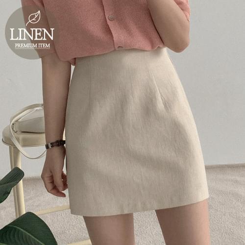 韓國空運 - 中腰縫線後拉鍊亞麻短裙 裙子