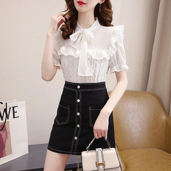 襯衫 洋裝 兩件套 輕熟風御姐范套裝系帶雪紡襯衣刺繡黑色半身裙兩件套N518-D.胖丫
