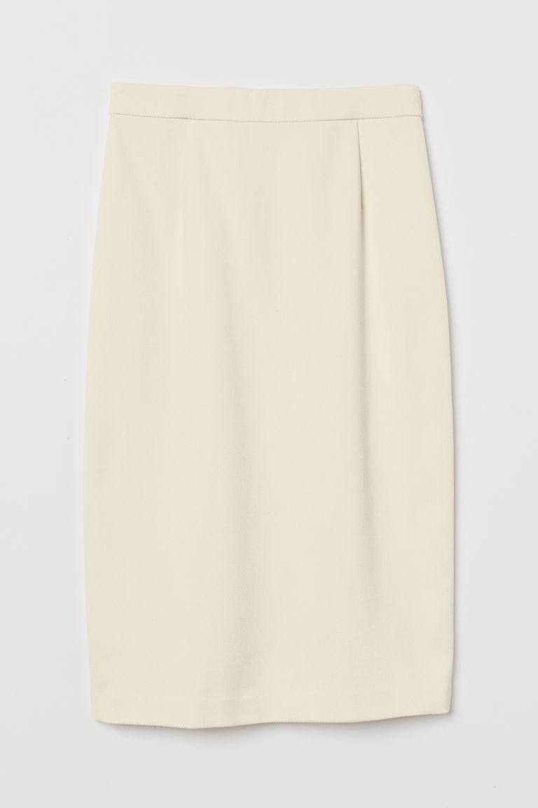 H & M - 及膝鉛筆裙 - 白色