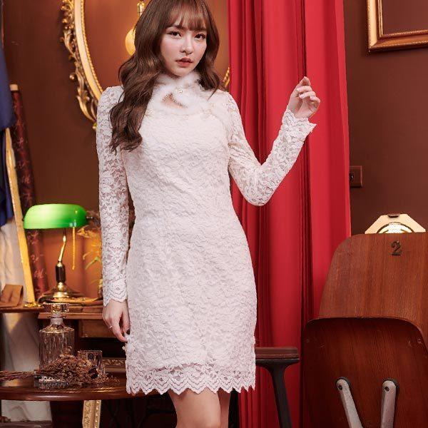 中國風毛領蕾絲鏤空長袖洋裝