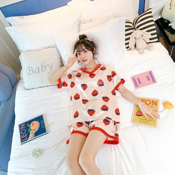 夏季睡衣學生少女V領短袖短褲冰絲仿真絲卡通印花簡約一整套裝1F057胖妹大碼女裝