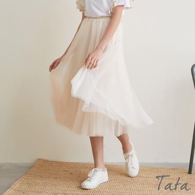 素面雙層鬆緊腰紗裙 共二色 TATA-F