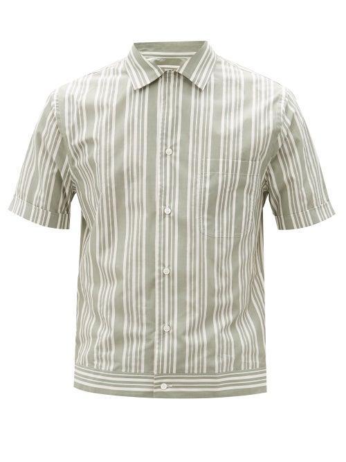 Brioni - Striped Short-sleeve Cotton-poplin Shirt - Mens - White Multi