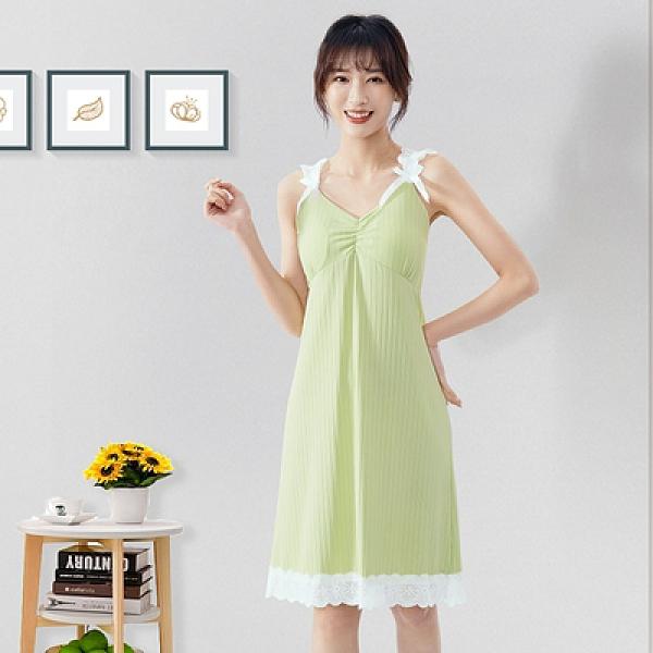 年睡衣女生夏季牛奶絲坑條帶胸墊可拆卸吊帶睡裙甜美顯瘦1F057胖妹大碼女裝
