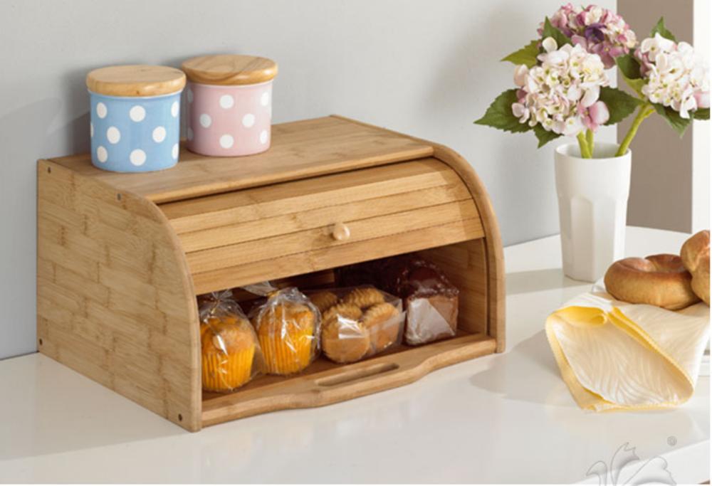 實木防塵面包零食多功能楠竹收納創意廚房家用帶蓋置物箱