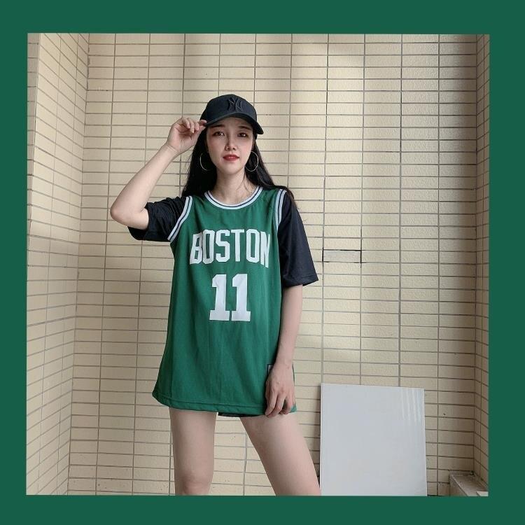 短袖籃球服女男韓版寬鬆假兩件上衣bf風ins潮嘻哈街頭球衣裙單衫 摩可美家