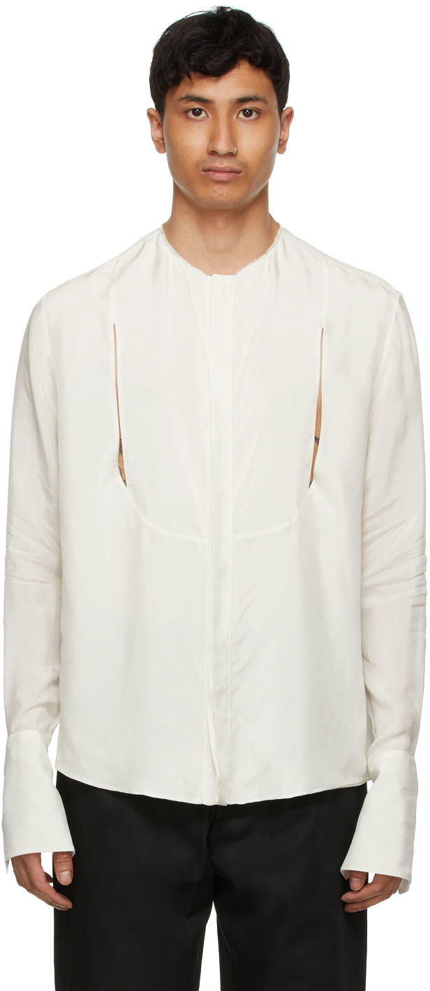 Carlota Barrera 灰白色开口晚装衬衫