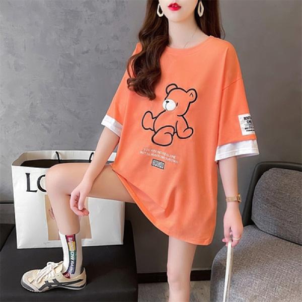 短袖T恤~獨家8716#35棉韓版刺繡假兩件貼布潮牌長款插色短袖T恤女NE416胖妞衣櫥