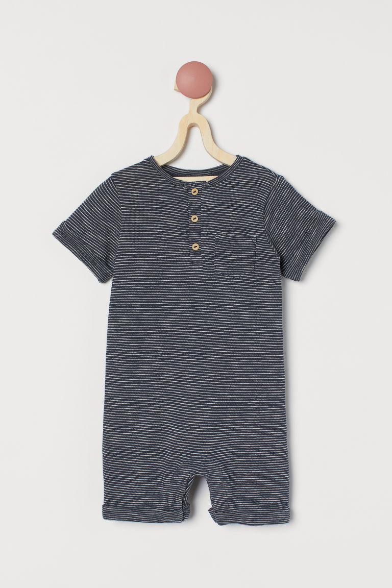 H & M - 棉質連身褲裝 - 藍色