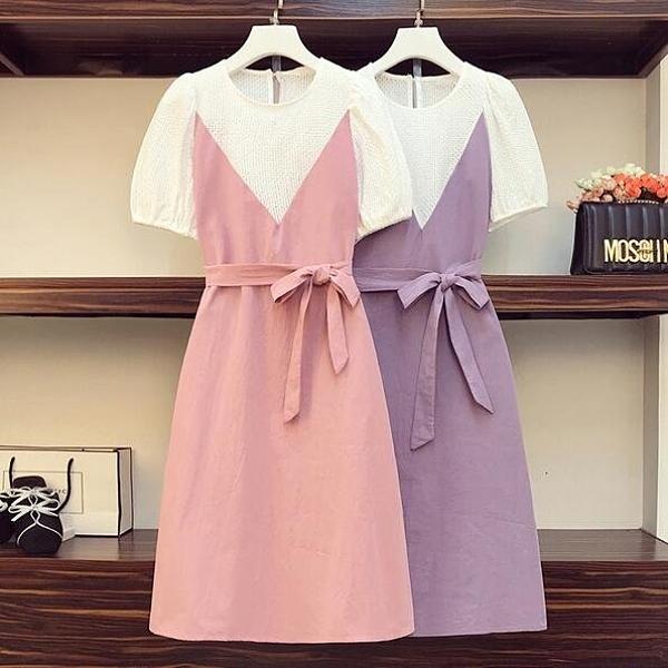 假兩件 洋裝 撞色連身裙中大尺碼L-4XL時尚減齡顯瘦連身裙4F093-3718.胖丫