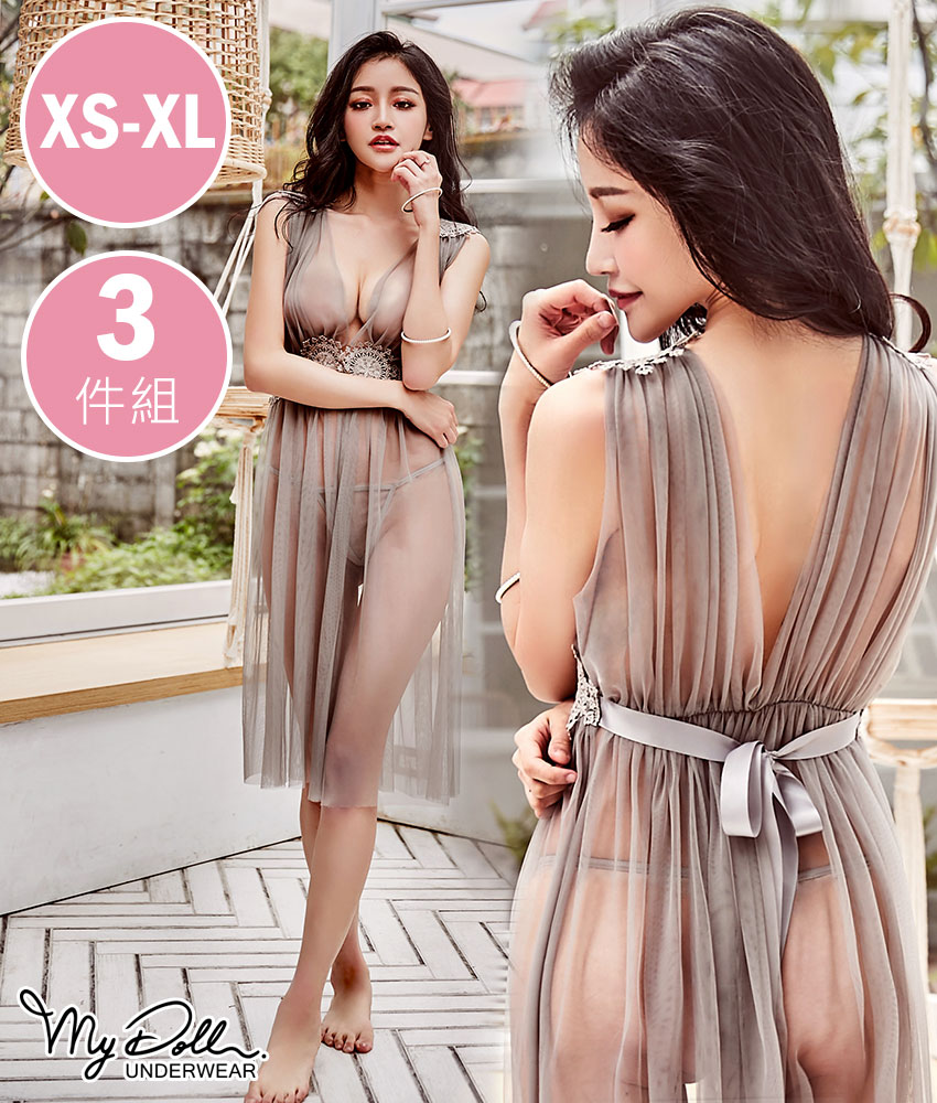 睡衣MyDoll 蕾菈女神 性感蕾絲透視網紗睡裙+頸鍊三件組(灰色/XS-XL號適穿)