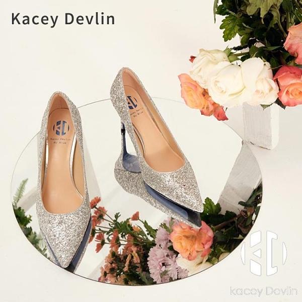 亮皮高跟單鞋女春秋尖頭細跟單鞋【Kacey Devlin】