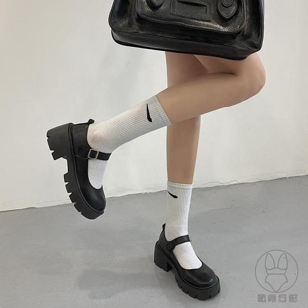 圓頭小皮鞋女英倫風日系jk制服厚底一字扣瑪麗珍鞋單鞋【貼身日記】