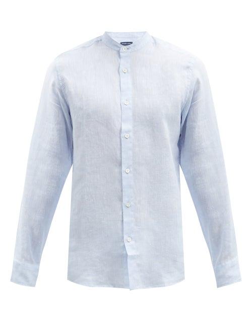 Frescobol Carioca - Jorge Slubbed Linen-muslin Shirt - Mens - Light Blue