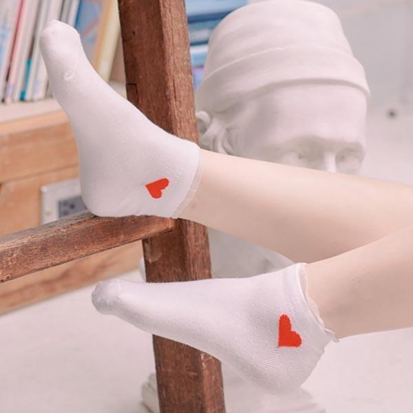 愛心點點條紋荷葉短襪