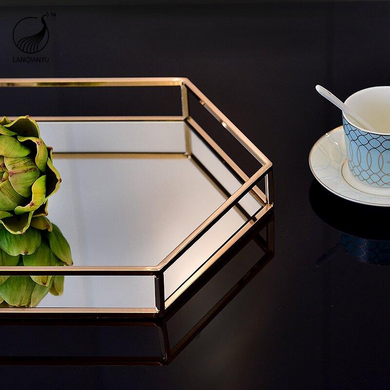輕奢金屬鏡面托盤歐式餐桌茶幾客廳桌面收納盤創意高檔家居擺飾品  LQY3 愛尚優品