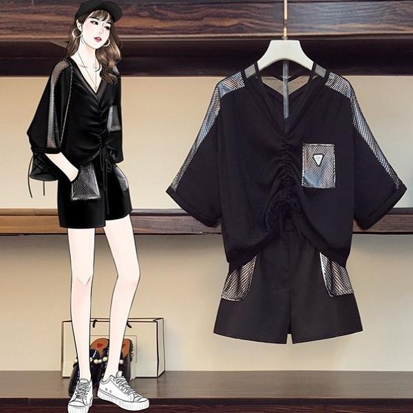 套裝上衣短褲L-4XL中大尺碼休閒百搭寬鬆拼接短褲兩件式R30.21026胖丫