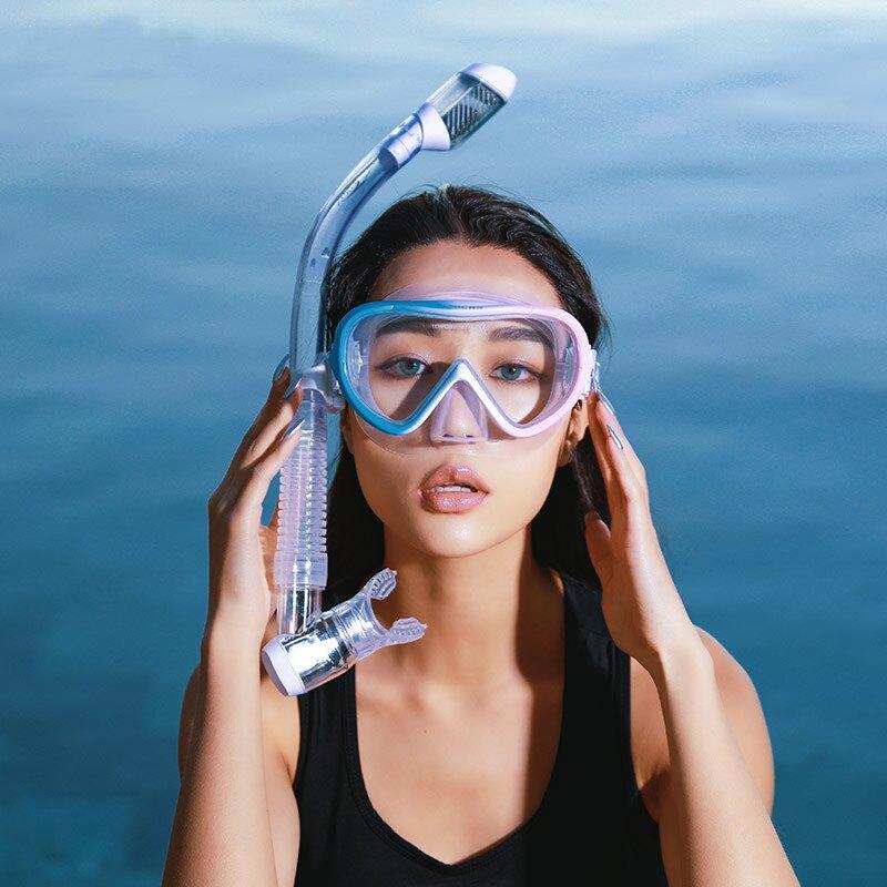 游泳面罩 潛水鏡浮潛三寶套裝全干式呼吸管成人眼鏡潛水面罩游泳裝備女T