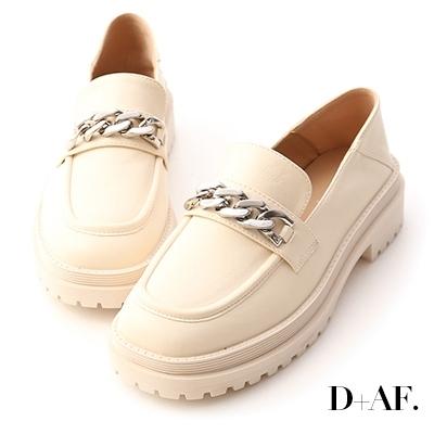 D+AF 酷感girl.金屬鏈條鬆糕底樂福鞋*米