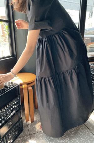 韓國空運 - Side Shirring Boxy Dress 長洋裝