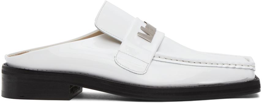 Martine Rose SSENSE 独家发售白色 Martine 漆皮乐福鞋