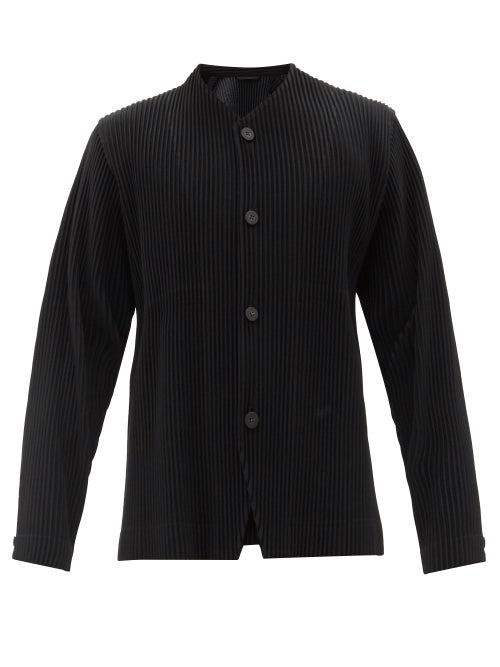 Homme Plissé Issey Miyake - V-neck Technical-pleated Shirt - Mens - Black