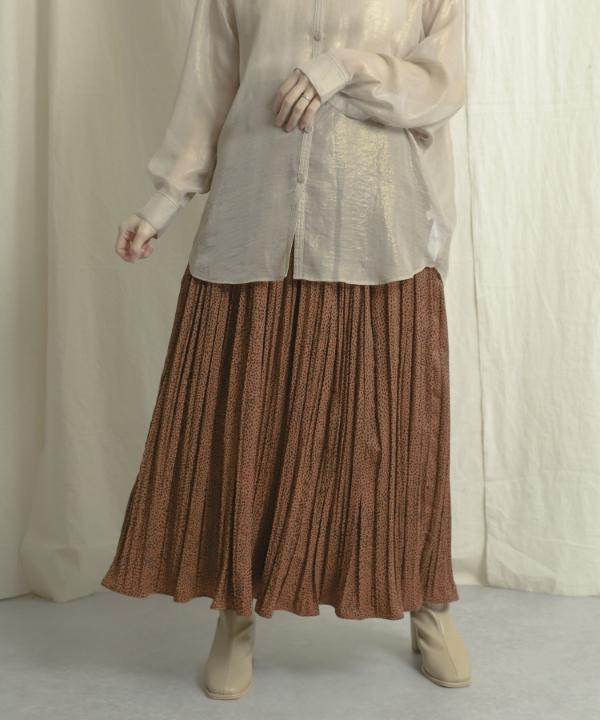 動物紋水洗皺摺長裙(AA14-25L017)