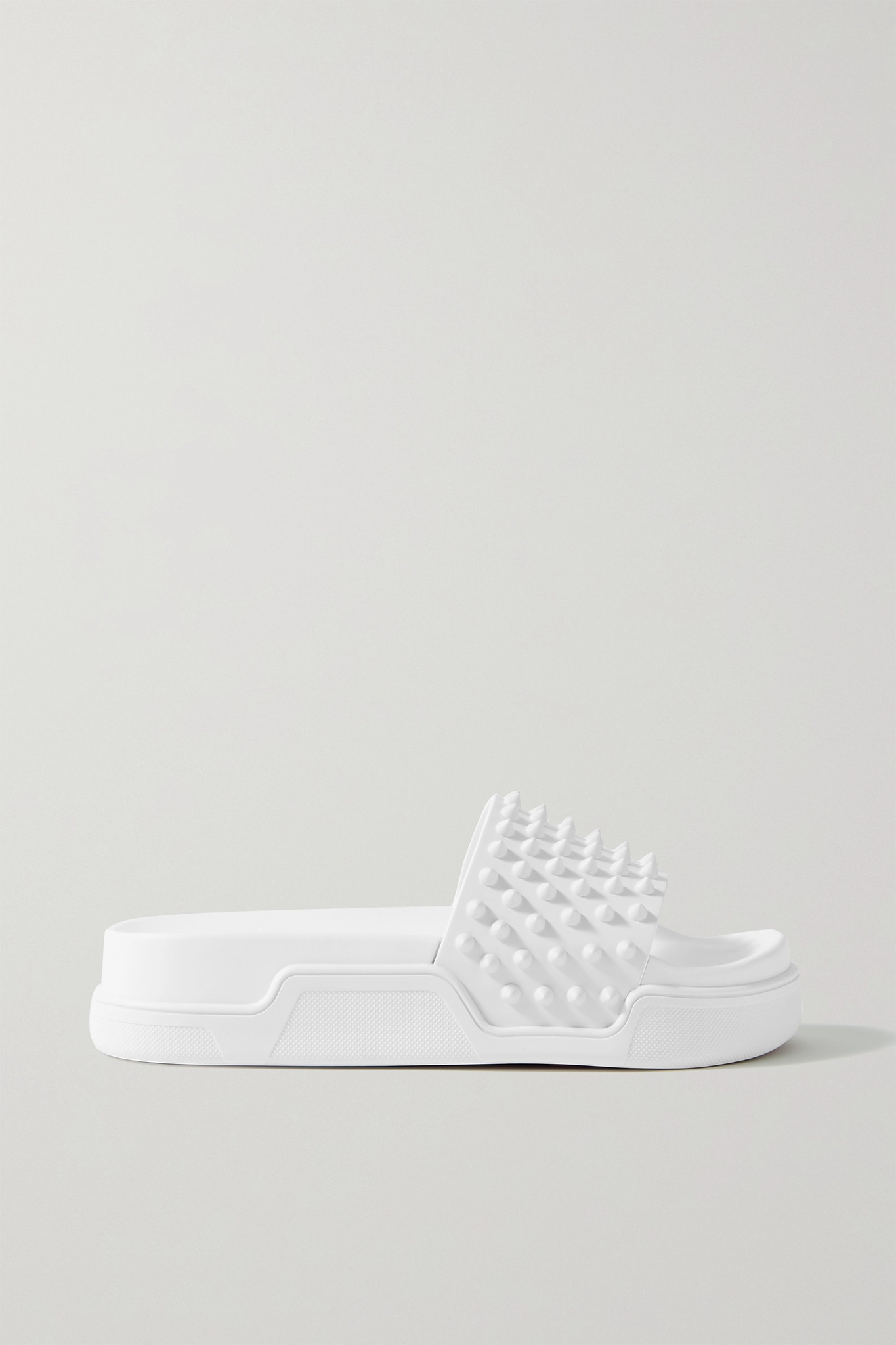 CHRISTIAN LOUBOUTIN - Pool Fun Donna 35 Spiked Leather Slides - White - IT36