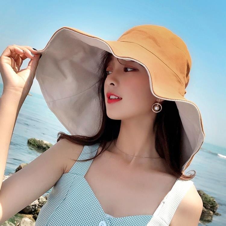 超大帽檐遮臉漁夫帽女夏天防紫外線遮陽帽防曬旅游百搭帽子韓版潮 摩可美家