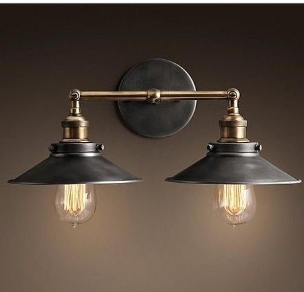 超實惠 設計師的燈具美式鄉村懷舊伏虎小黑傘雙杆壁燈客廳臥室走廊酒吧燈